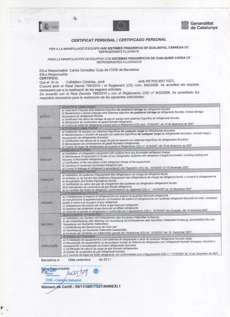 CERTIFICADO MANIPULACION GASES FLOURADOS  2012